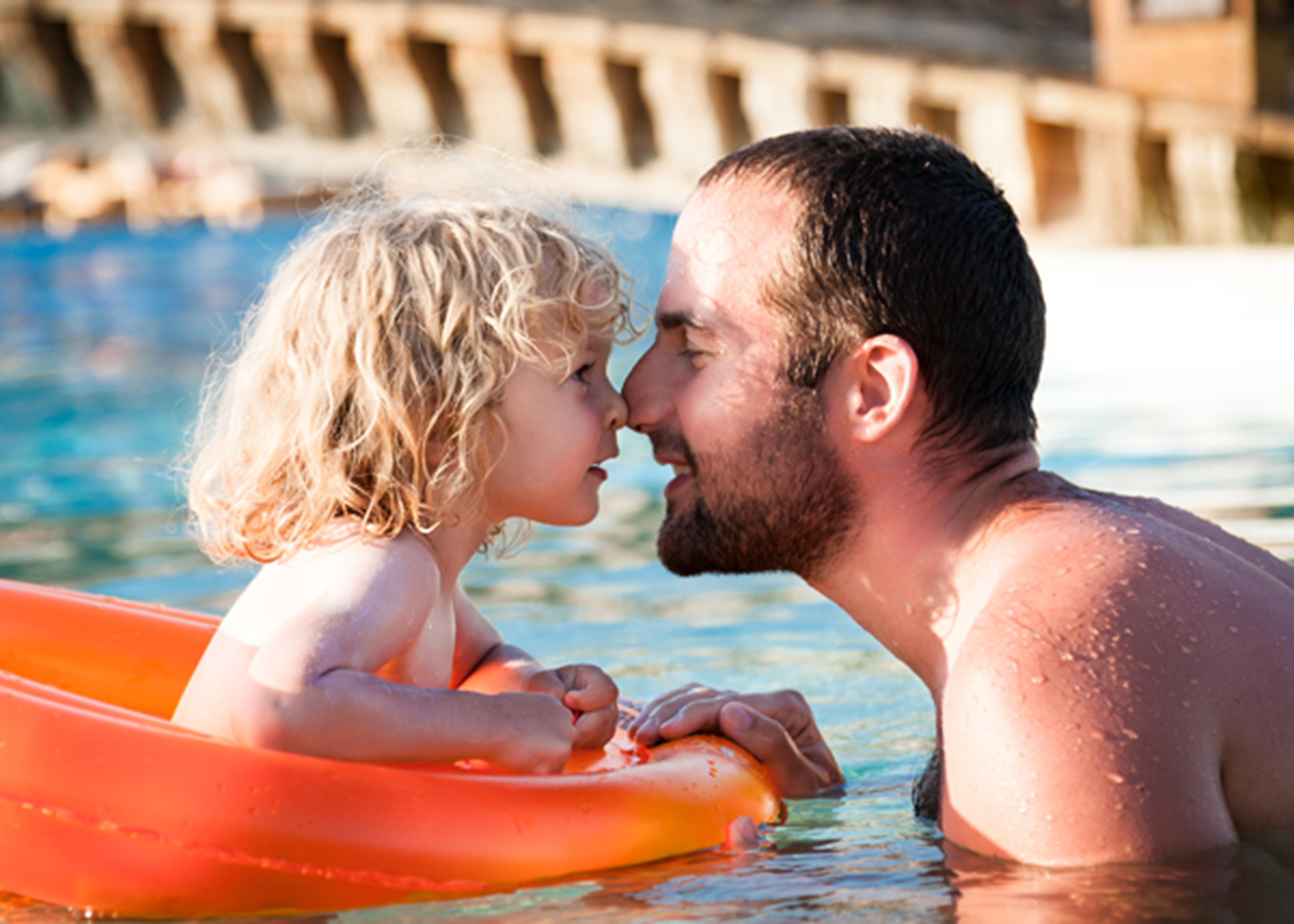 dad and dau in pool