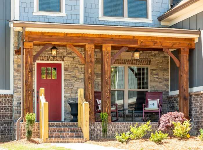cedar columns on front porch of new home by Pratt Homes