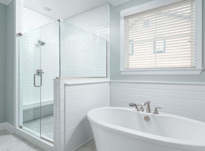 bright, fresh master bath with freestanding tub in new home by Pratt