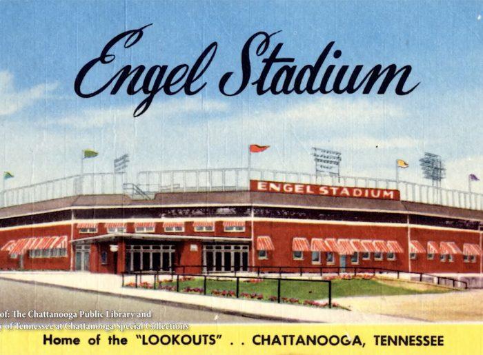 old Engel Stadium post card