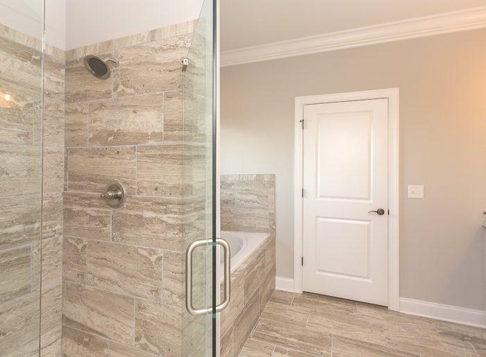 frameless shower in new home by Pratt