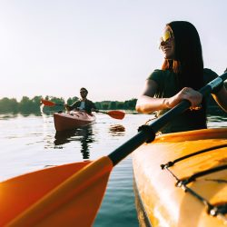 couple enjoying close amenities outdoor kayaking