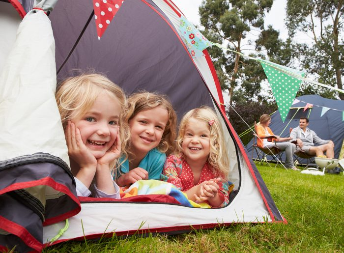 kids camping in backyard outdoor