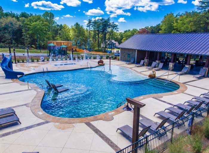 resort-style pool at GreyHawk Trails by Pratt Home Builders