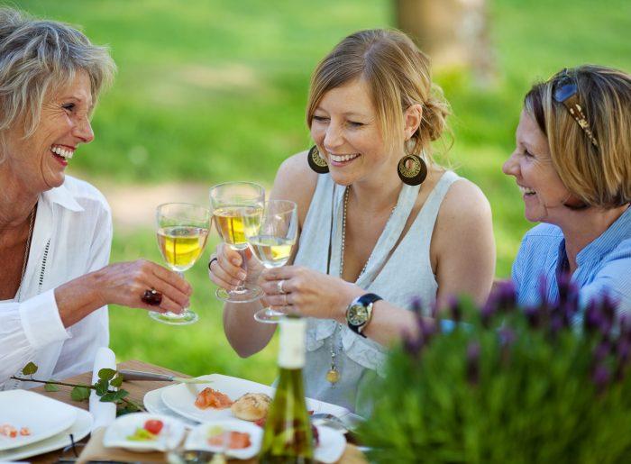 friends enjoying wine